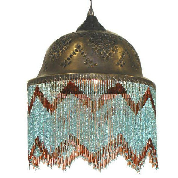 Vintage 3-Tier Turquoise Beaded Brass Chandelier - Image 3 of 3