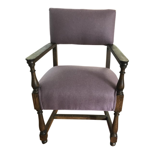 Vintage Early American William and Mary Style Plum Chair - Image 1 of 4