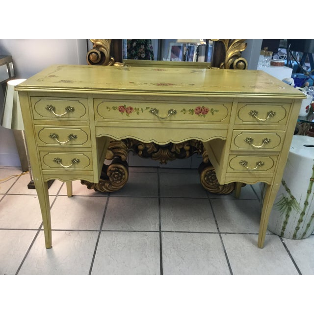 1970's Yellow Hand Painted Roses Floral Vanity & Chair For Sale - Image 4 of 10