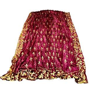 French Fleur De Lis Burgundy Velvet Zuber Paris Curtain Drapes - a Pair For Sale