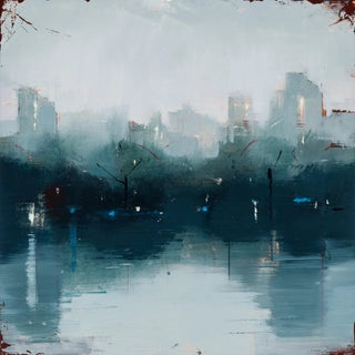 "Lisa Breslow ""Nocturne 1"" Blue Cityscape Oil Painting on Panel For Sale"