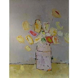 "Bill Tansey "" Yellow Bouquet"" Abstract Floral Oil Painting on Canvas"