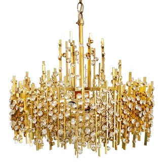 1950s Hollywood Regency Lobmeyr Brass and Crystal Chandelier