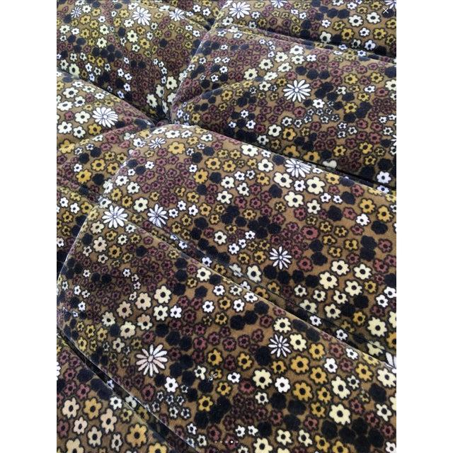 "Pair of Michel Ducaroy for Ligne Roset Vintage ""Togo"" Floral Plush Ottomans - Image 3 of 4"
