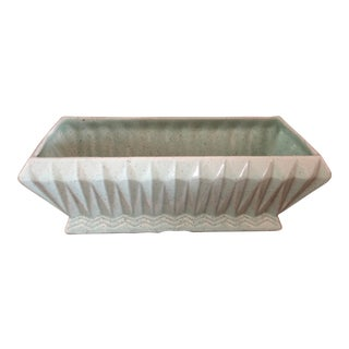 Final Price! Vintage Light Green Brush Usa Pottery Planter For Sale