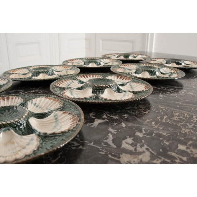 Set of Eight French Barbotine Longchamp Terre De Fer Oyster Plates For Sale In Baton Rouge - Image 6 of 10