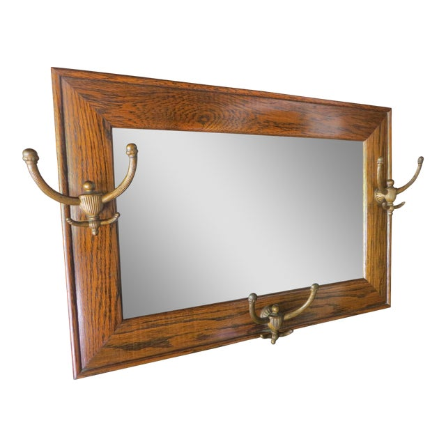 Antique Hanging Wall Mirror Tiger Oak With Hooks For Sale