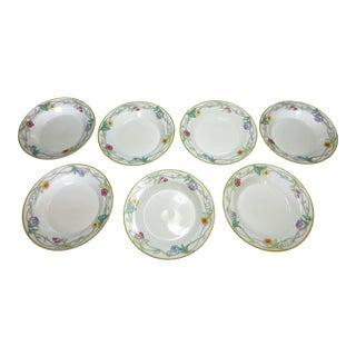 """Dansk """"Tivoli Gardens"""" Garden Floral Rimmed Soup Bowls - Set of 7 For Sale"""