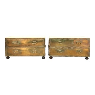 Sarreid Brass-Clad Chests - a Pair For Sale