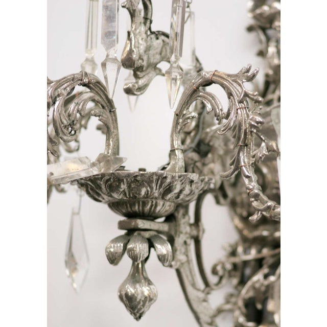 19th Century Nickel-Plated Bronze Rococo Dragon Wall Sconce Set of Four - Image 4 of 8