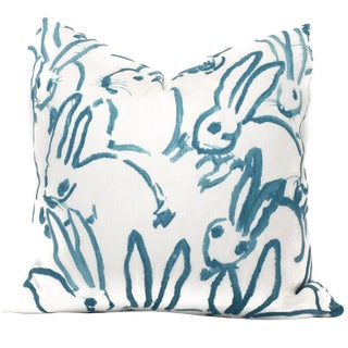 Aqua Bunny Pillow Cover in Hutch by Lee Jofa