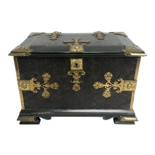 Circa 1900 Painted Dresser Box with Gold Accents For Sale
