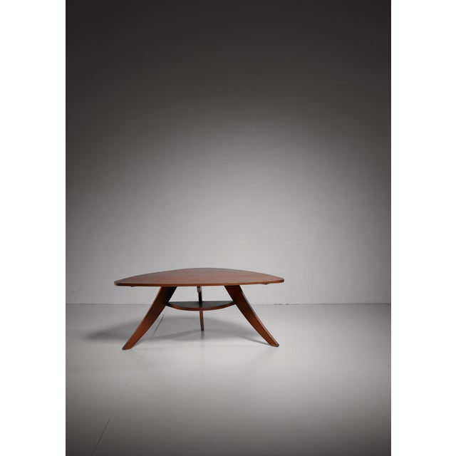 1950s Two Tier Triangle Shaped Coffee Table, Netherlands, 1950s For Sale - Image 5 of 5