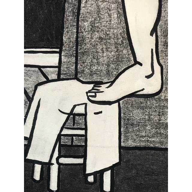 "Original 1940s Charcoal Figurative Drawing ""Foot on Stool"" For Sale - Image 4 of 10"
