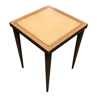 1960s Mid Century Modern Leather Top Side Table For Sale