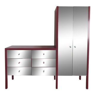 Custom Mirrored Armoire and Dresser For Sale