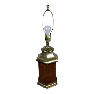 Frederick Cooper Brass & Burl Walnut Table Lamp For Sale