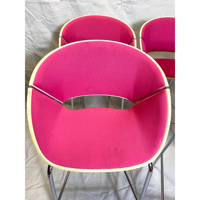 Set of 4 Heavy Duty Chic Pink Fabric Bar Counter Stools Wood Back Good overall condition. Cushions show typical wear from...