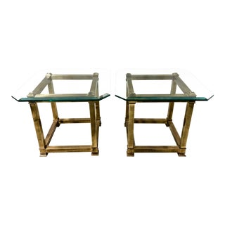 Pair of 1970s Modern Brass Side Tables