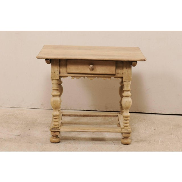 18th Century Swedish Period Baroque Wood Side Table on Turned Legs For Sale - Image 4 of 12