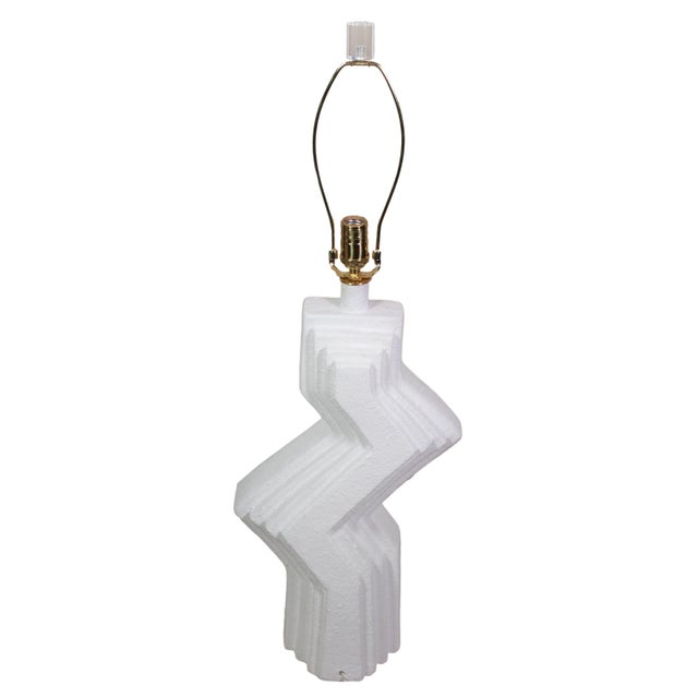 1970s 70's Plaster Ziggurat Lamp With Lucite Finial For Sale - Image 5 of 10