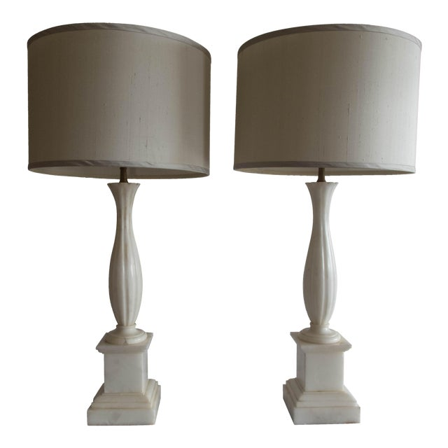 """Antique Alabaster Lamps (Pr.) Tall Elegant Fine-Lineation 33"""" Gray Shades (new) Excellent For Sale"""