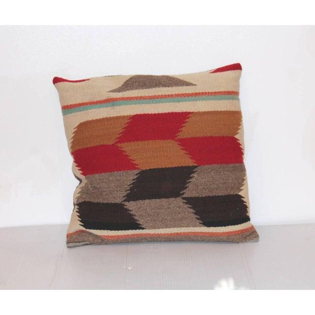 Pair of Tumbling Blocks Navajo Indian Weaving Pillows For Sale - Image 4 of 4
