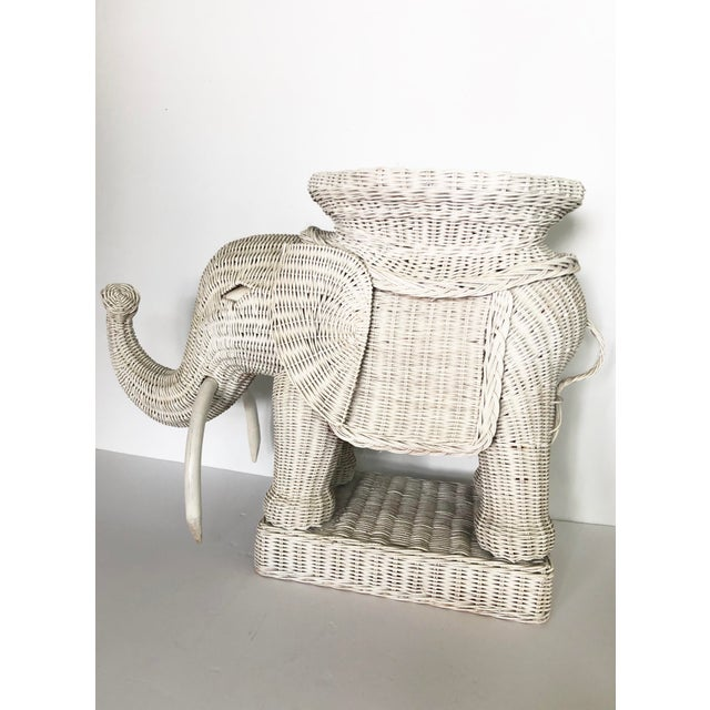 Boho Chic Vintage Wicker Elephant Garden Stool Side Table For Sale - Image 3 of 13