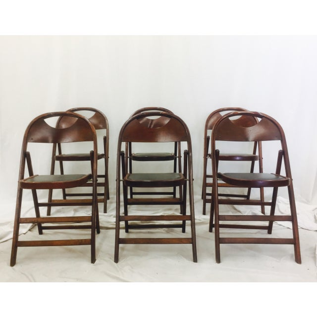 Campaign Vintage Bentwood Folding Chairs - Set of 6 For Sale - Image 3 of 11