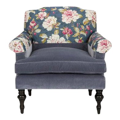 Kim Salmela Blue Floral Chair For Sale