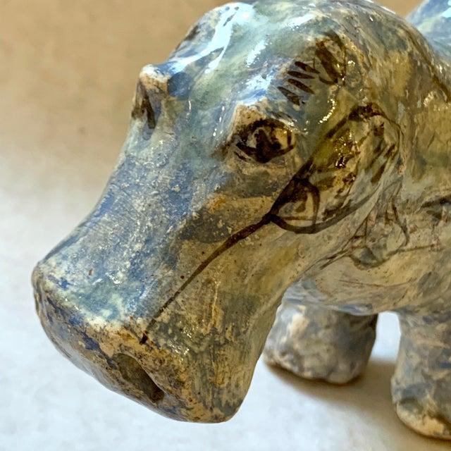 "Vintage Mid-Century ""William the Faience Hippopotamus"" Figurine For Sale - Image 11 of 13"