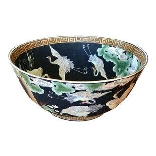 Vintage Chinoiserie Porcelain Decorative Centerpiece Bowl With Cranes For Sale