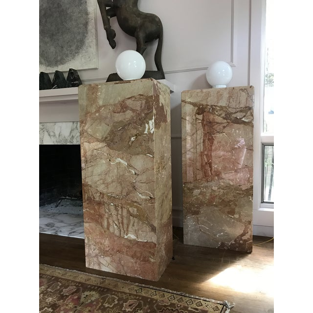 1980s Custom Vintage Monumental Marble Pedestal Lamps - a Pair For Sale - Image 11 of 11