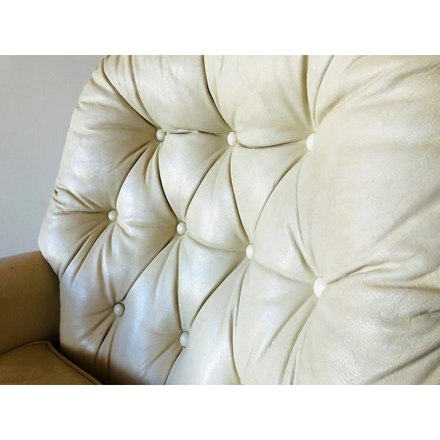 Hollywood Regency Bradington Young Distressed Tufted Leather Recliner and Ottoman For Sale - Image 3 of 13