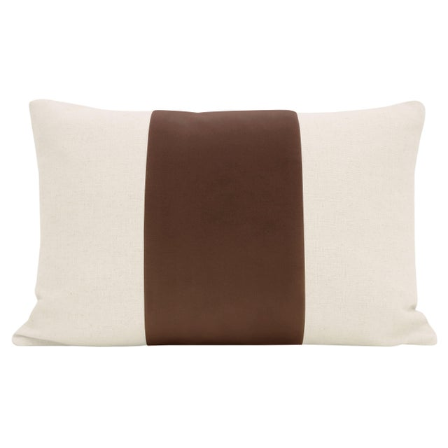 "Pair of beautiful 12"" X 18"" natural linen pillows with a Mocha velvet center and solid natural linen reverse. Meticulously..."