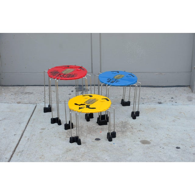 Gaetano Pesce Set of Whimsical Colored Side Tables by Gaetano Pesce For Sale - Image 4 of 5