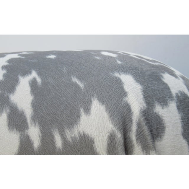Vintage C.1970s Karl Springer Souffle' Pouf Ottoman in a Nova Suede Pony Hide Spotted Textile For Sale - Image 9 of 13
