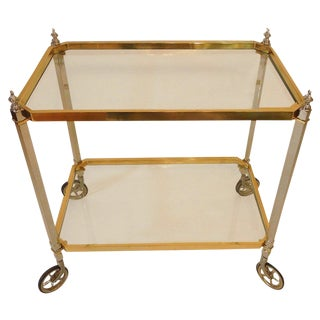 1960s Vintage Italian Brass Nickel & Glass Bar Cart For Sale