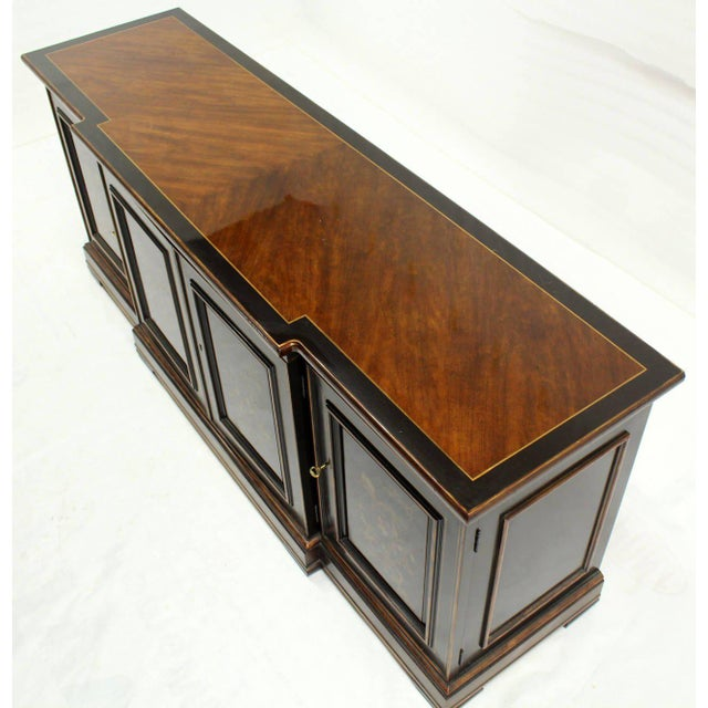 Mid-Century Modern Two Tone Chinoiserie Four Doors Drexel Server Cabinet For Sale - Image 3 of 10