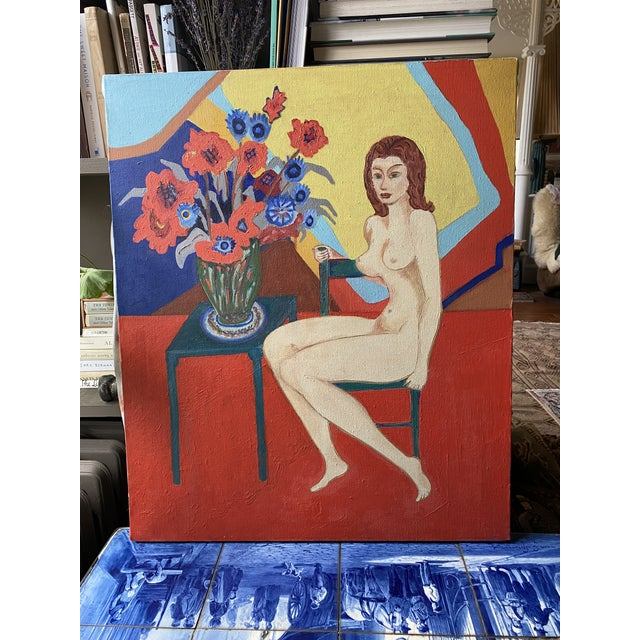1980s Nude and Floral Still Life Oil Painting For Sale In New York - Image 6 of 6