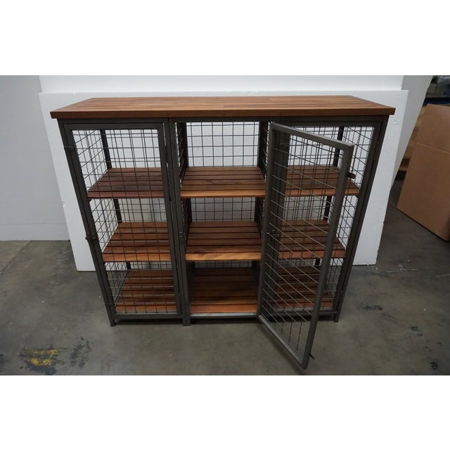 Mesh & Wood Storage Unit For Sale - Image 5 of 7