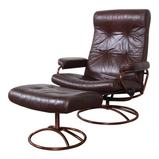 Ekornes Stressless Brown Leather Lounge Chair and Ottoman For Sale