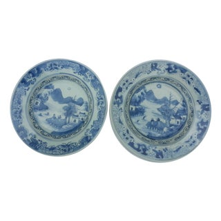 Hand Painted Blue and White Plates - Pair