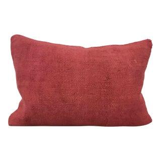 Turkish Anatolian Organic Hemp Red Lumbar Pillow For Sale