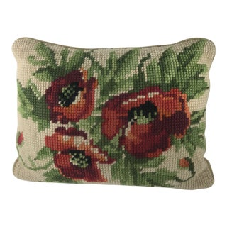 1980s Handmade Poppies Cross Stitch Pillow Cover For Sale
