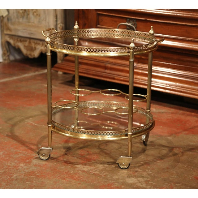 Early 20th Century French Two-Tier Brass Desert Table or Tea Cart on Wheels - Image 7 of 9