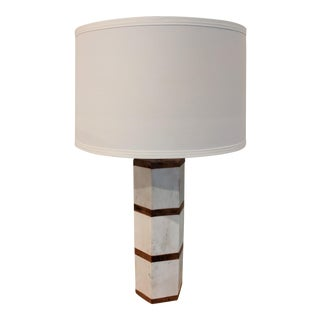 Contemporary Marble & Wood Table Lamp For Sale