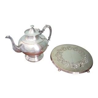 1960s Silver Plate Large Pedestal Teapot & Expandable Trivet - a Pair For Sale