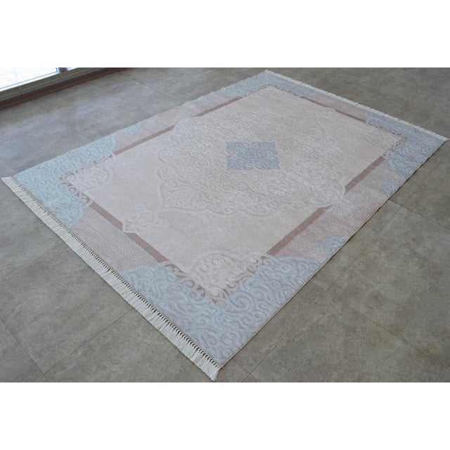 Islamic Traditional Oushak Pattern Inspired Area Rug - 5′1″ X 7′7″ For Sale - Image 3 of 11