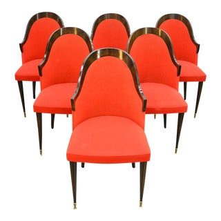 Set of Six French Modern Dining Chairs in Stained Beech For Sale